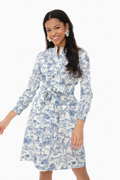 ivory far and away printed cotton shirtdress