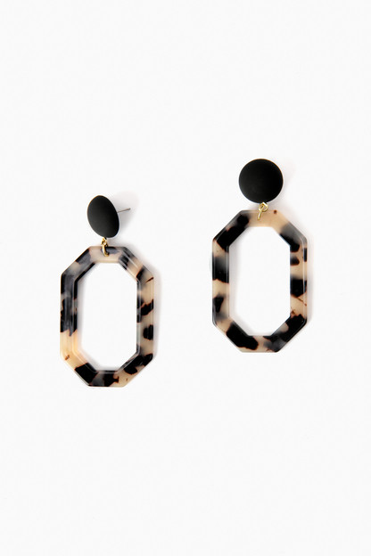 black chic octagon statement earrings