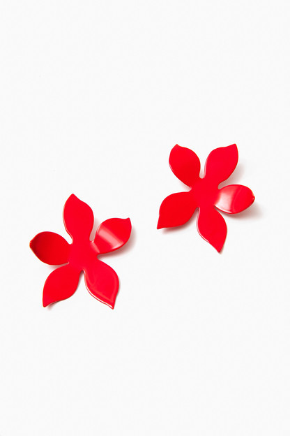 red iris earrings