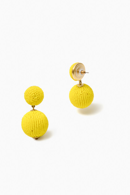 Yellow Petite Beaded Lantern Earrings