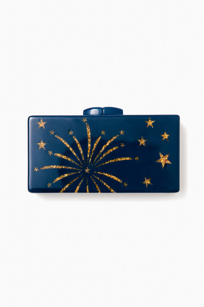 Navy Crackle Clutch