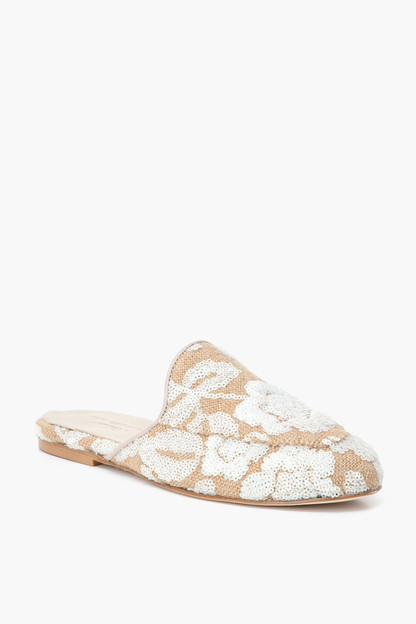 embroidered sequin mules