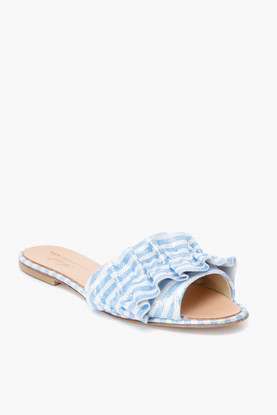 blue striped ruffle slides