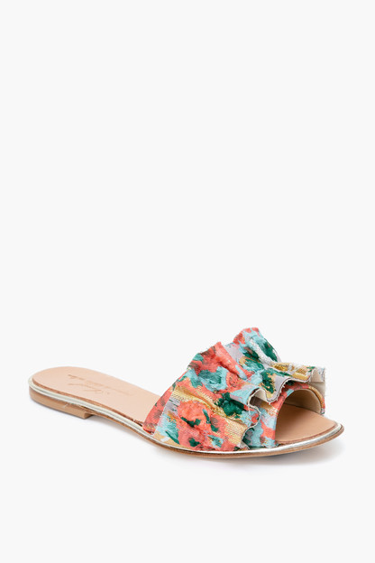 floral ruffle slides