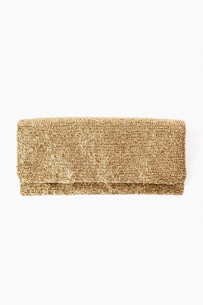 gold beaded clutch
