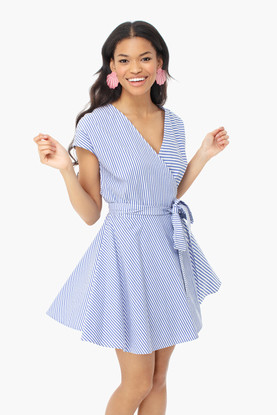 marlin grier stripe mix wrap dress