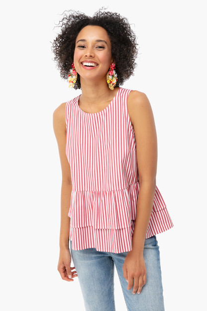lighthouse red grier striped peplum top