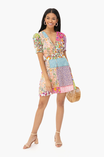 patchwork lea mini dress