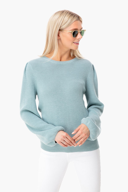 beach glass tie back puff sleeve crewneck
