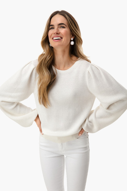 white tie back puff sleeve crewneck