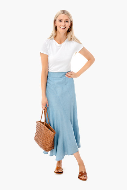 chambray swing skirt