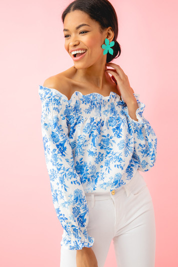 blue and white off the shoulder marguerite blouse