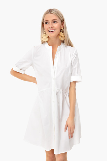 white royal shirt dress
