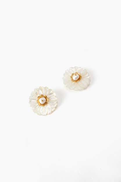 mother of pearl large flower stud