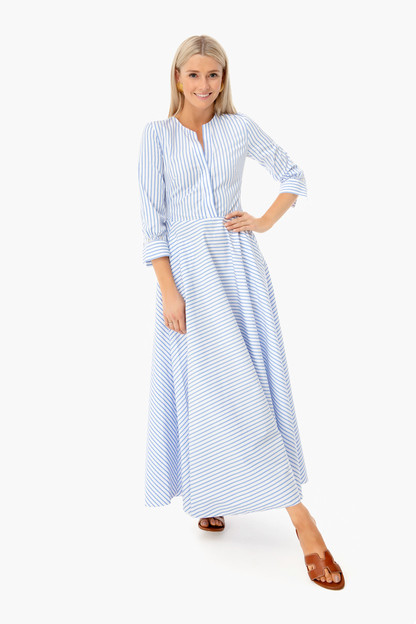 French Blue Striped Sofia Maxi dress