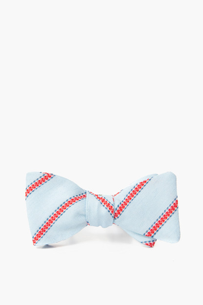 light blue linen silk impulse stripe bow tie
