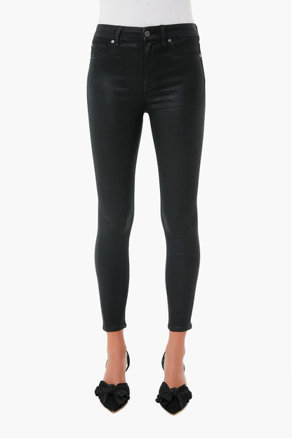 the black coated high waist ankle skinny
