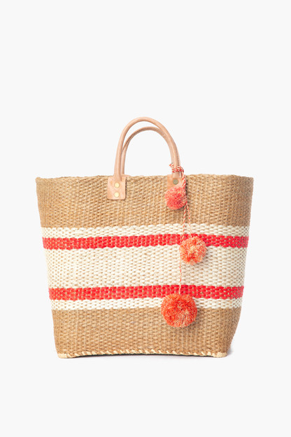 coral cyprus striped tote