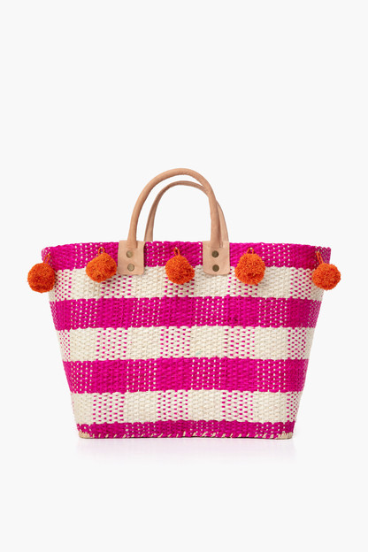 pink pompeii gingham tote