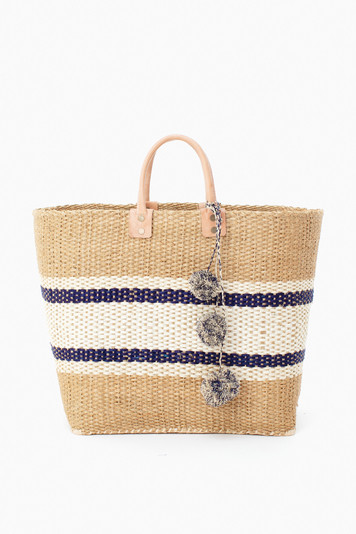 navy cyprus striped tote