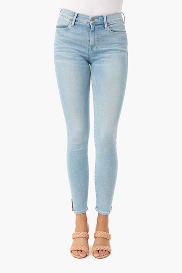 ocean ridge le high skinny crop slit rivet