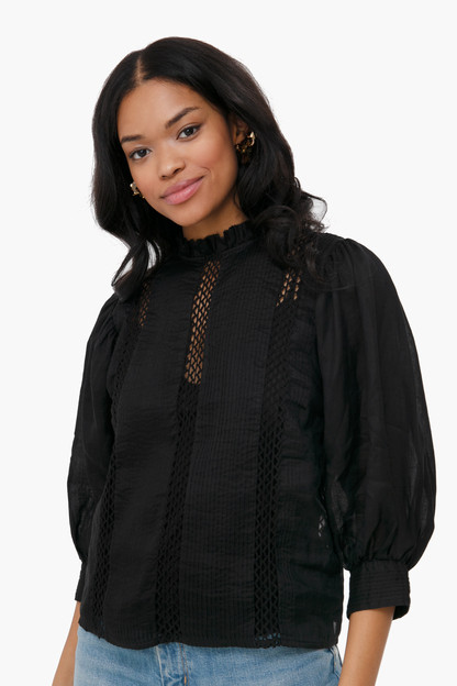 noir lace ruffle neck top
