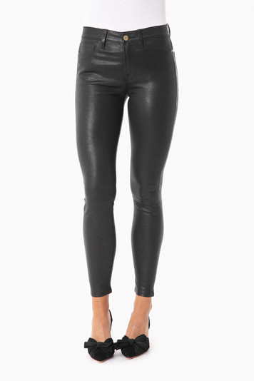 washed black le high skinny leather