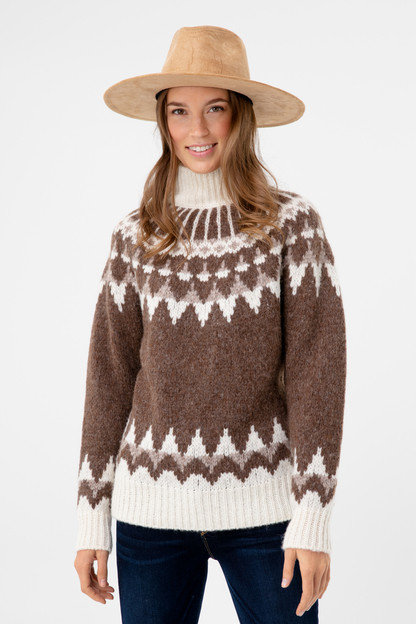 chocolate fair isle turtleneck