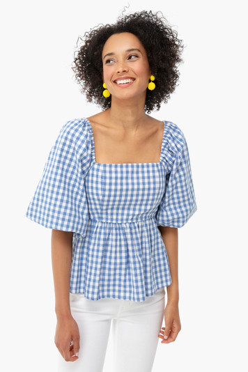 gingham square neck top