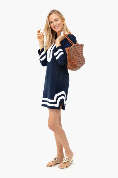 navy long sleeve classic tunic