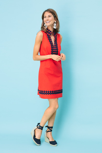 red sleeveless classic tunic