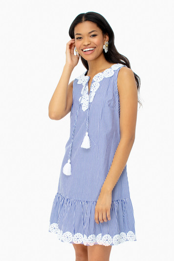 blue sleeveless ruffle hem dress
