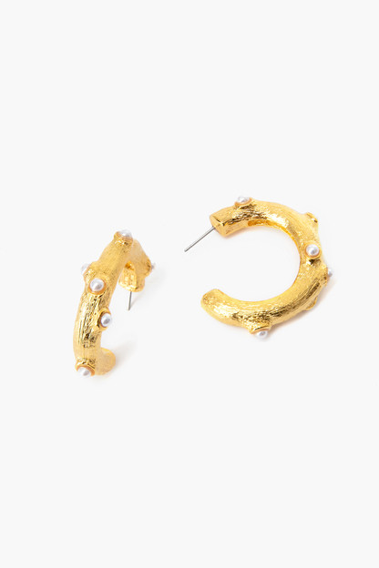 Gold Hoop Earrings with Pearl Cabochons
