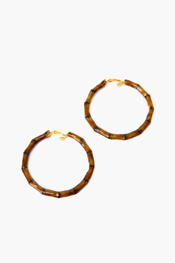 bamboo hoop clip on earrings