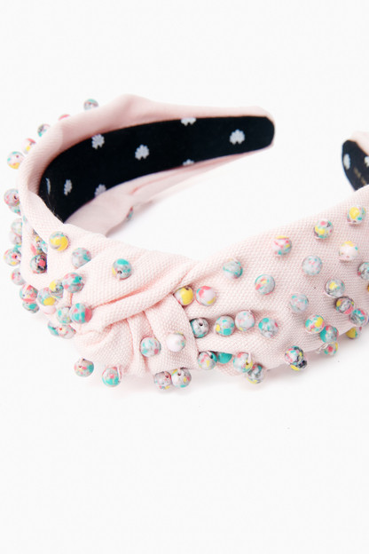 pastel confetti beaded woven headband