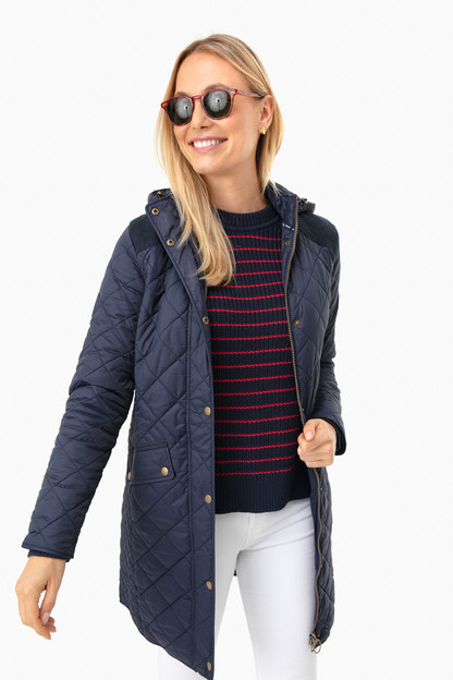 Navy Burne Quilt Jacket Extra 25% Off with Code BERRY25