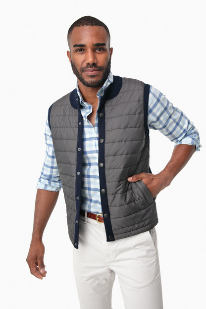 navy essential gilet