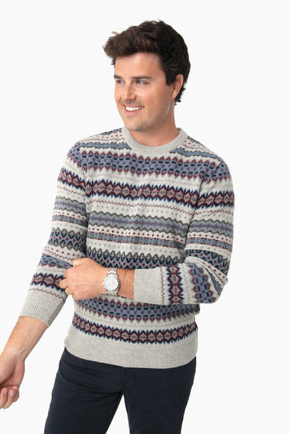 Fog Fairisle Crew Sweater