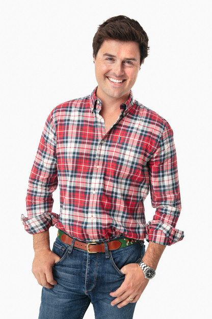 Red Highland Check 10 Tailored Shirt