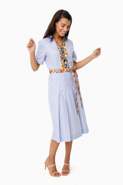 blossom ditsy cotton patchwork shirt dress