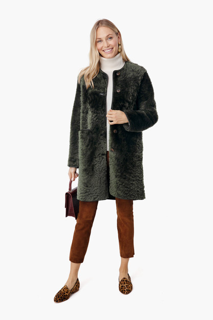 greenland shearling reversible coat