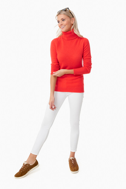 sunset red heather essential cashmere turtleneck sweater