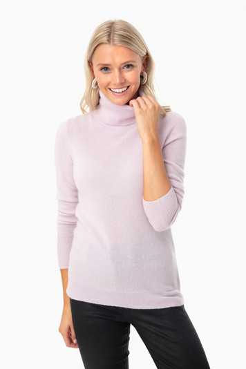 lilac essential cashmere turtleneck sweater