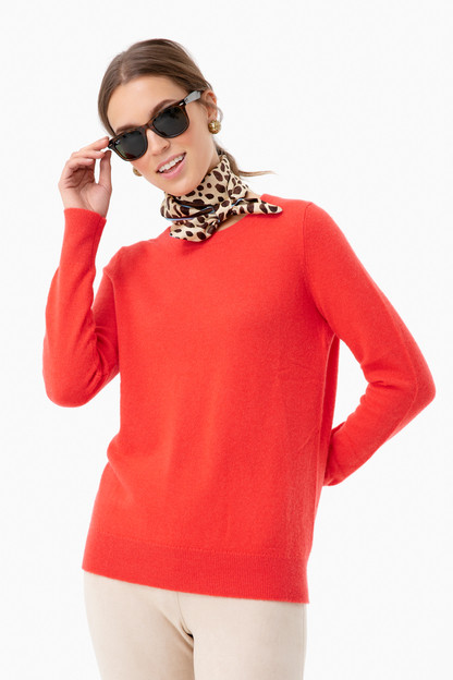 Sunset Red Heather Essential Cashmere Crewneck Sweater