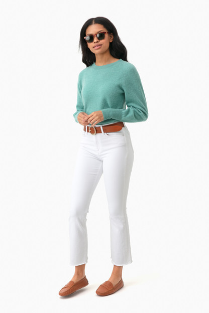 dusty jade heather blouson sleeve cashmere sweater