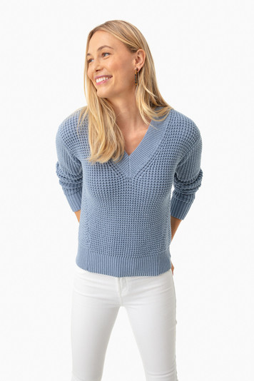 baltic blue mid gauge cotton v-neck sweater