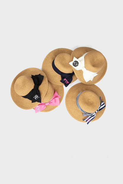 striped packable wide bow sunhat