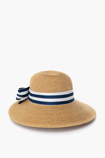 striped packable wide bow sun hat