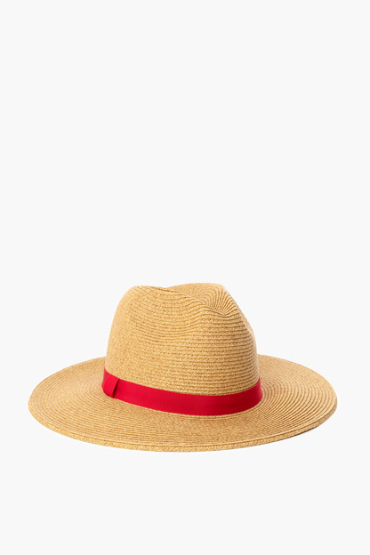 red wide brim sun hat