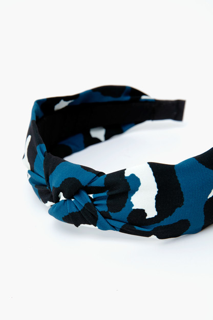 navy leopard headband